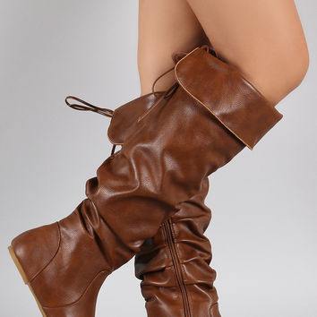 Bamboo Vegan Leather Slouchy Cutie Lace Up Flat Boots