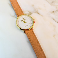Simple Rhinestone Watch Tan