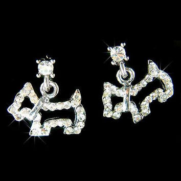 Dainty Swarovski Crystal Scottish Terrier Scottie Westie Puppy Dog Post Earrings Cute Christmas Gift New