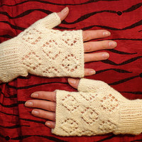 Lace fingerless gloves, knit arm warmers, wrist warmers, knit fingerless mittens, armwarmers, hand warmers, handknitted mitts, handmade