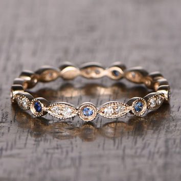 Natural Sapphire and Diamond,Full Eternity Wedding Ring,Solid 14K Yellow gold,Anniversary Ring,Art deco,stacking ring,milgrain,Retro vintage