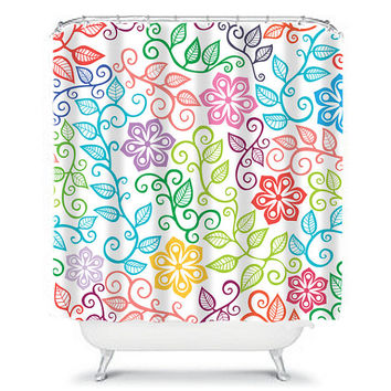 Girl Shower Curtain Monogram Flower Colorful Floral Pattern Swirl Girl Bathroom Bath Polyester Made in the USA
