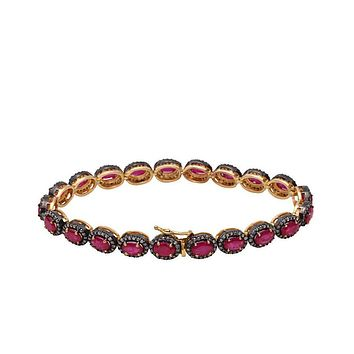 Handmade Victorian Natural 14K Yellow Gold 15TCW Red Rubies & Natural Mined Diamond Halo Bracelet