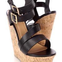 Black Two Tone Open Toe Wedges Faux Leather
