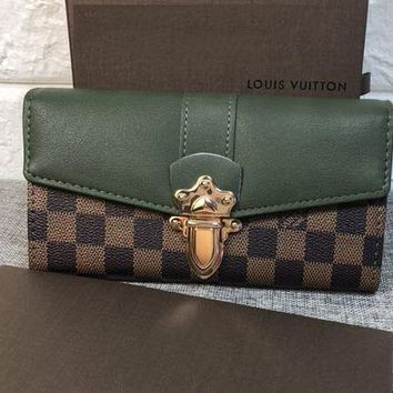 LV Fashion Women Shopping Bag Louis Vuitton Lock Contrast Coffee Tartan Wallet Shoulder Bag B-OM-NBPF Green