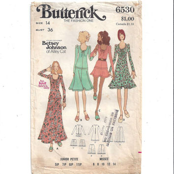 Butterick 6530 Pattern for Misses' 1 or 2 Piece Dress, Size 14, From 1970s, Betsey Johnson of Alley Cat, Stretch Knits, Vintage Pattern