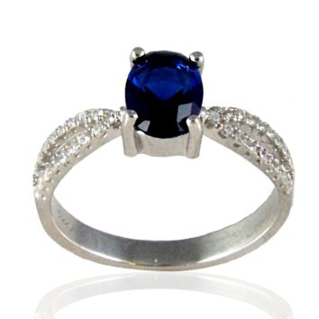 Frozen - Oval cut sapphire cubic zirconia solitaire sterling silver with white pavé cz double band ring