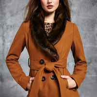 ideeli | BEBE Button Front Coat with Faux Fur Collar
