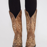 Vintage JUSTIN Boots DISTRESSED Leather Boots Cowboy Boots Western Boots with Embroidered Cross