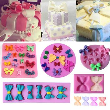 Butterfly Bows Silicone Molds Fondant Cake Decorating Tools Chocolate Clay Candy Moulds Cupcake Kitchen Baking Moulds Decoration