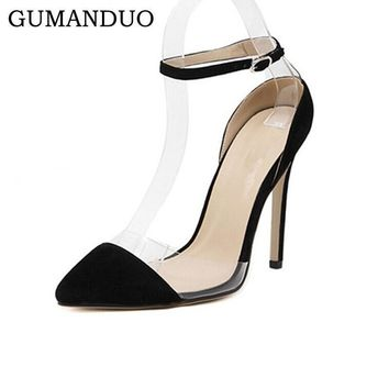 GUMANDUO Women Suede Leather Pointy Toe Ankle Strap High-Heeled Pumps shoes Stilettos