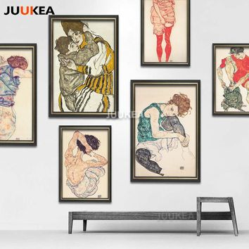 24 PCS Egon Schiele Body Color Delineation Sketch Canvas Art Print Painting Poster, Wall Picture For Living Room, Home Decor