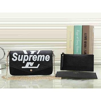 LV X Supreme Women Leather Shoulder Bag Crossbody Wallet Purse Three Piece Set
