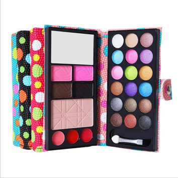 4 colors blusher eyeshadow palette eyebrow powder leather wallet Kit Set