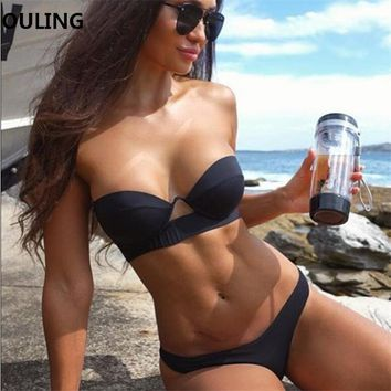 2018 Push Up Biquini Black Mini Bikini Set Sexy Women maillot de bain femme European Micro Swimwear Bathing Suit Cute Beach Wear