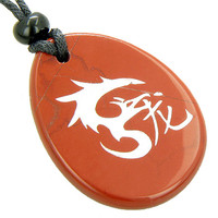 Magic Symbol Dragon Amulet Red Jasper Word Stone Lucky Pendant Necklace