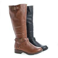 Montesori02K Chestnut Pu by Bamboo, Children's Girl Knee High Round Toe Riding Boots