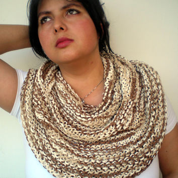 Variegated Chunky Cotton Summer  Circle Scarf Hand Knit Circle Scarf  Soft  Unisex Scarf NEW