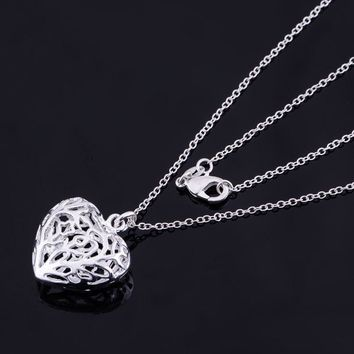 ON SALE - Cut Out Fancy Puffed Heart Necklace