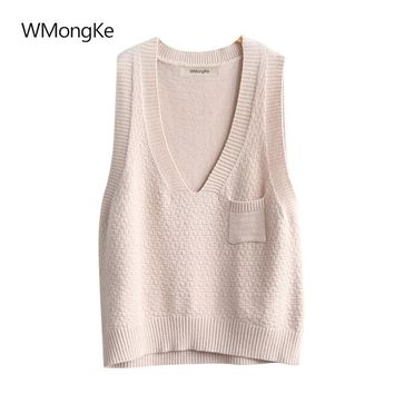 WMongKe Women Solid Knitted Sweater Girl Fashion Sleeveless Pullover V-Neck Poncho Spring Autumn Casual Geometric Jumper