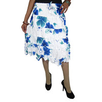 Mogulinterior Gypsy Hippie Skirt White Blue Floral Printed Knee Length Peasant Boho Skirts