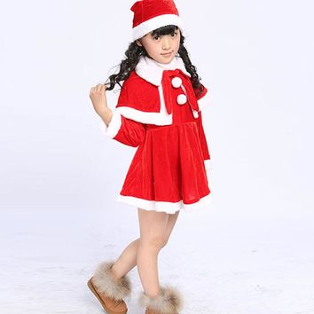 2017 Kids Santa Claus Clothes With Hat Girls Christmas Dress Kids Christmas Party Costumes For Girls And Boys Clothing