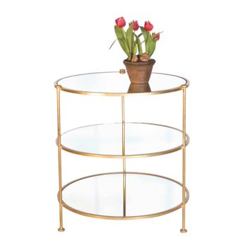 Worlds Away 3-Tier Gold Leaf Side Table