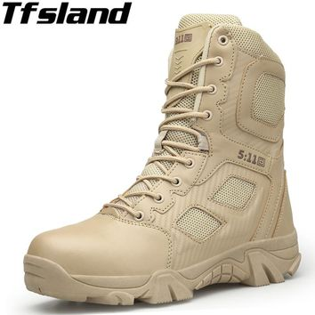 Tfsland Men Desert Tactical Military Boots Mens Soft Safty Shoes SWAT Army Boots Militares Tacticos Zapatos Ankle Combat Boots