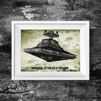Spaceship destroyer print - Movie print Spaceship destroyer - stormtrooper wall art decor poster print