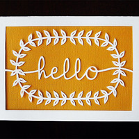 Handcut Papercut Card - Hello - Any occasion 5x7 Handmade Greeting Card