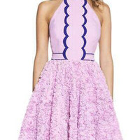 Purple Halter Neck Flower Skater Dress