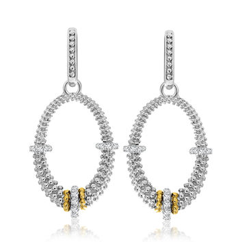 Diamond Studded Oval Silver Popcorn Earrings + Gold Accents 1/3 ct tw