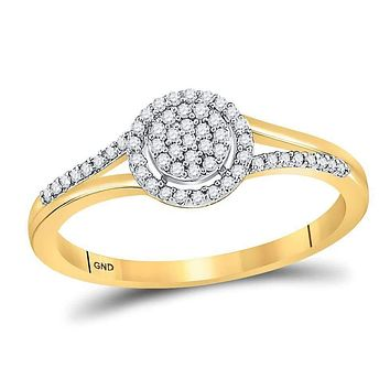 10kt Yellow Gold Womens Round Diamond Circle Cluster Split-shank Ring 1/6 Cttw