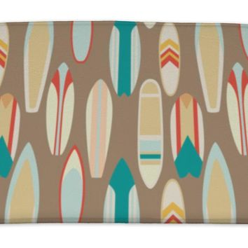 Bath Mat, Pattern With Vintage Surfboards