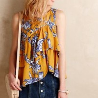 Karen Walker Pleated Posies Tank in Yellow Size: