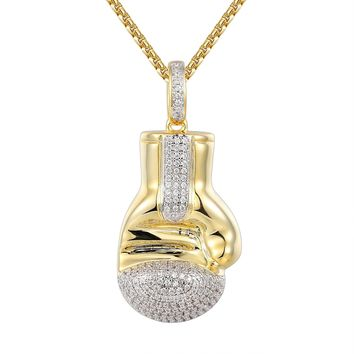 Designer Boxing Gloves 14k Gold Finish Pendant Tennis Chain