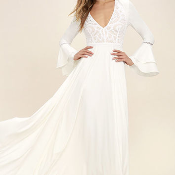 Enchanted Evening White Lace Maxi Dress