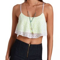 Crochet Flounce Crop Top by Charlotte Russe