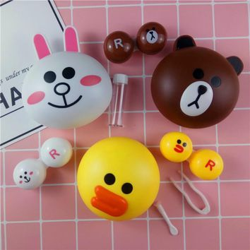 Colored contact lenses case for L ine with Mirror Cute Little Bear eye Contact Lens Case glasses case eyewear accessories L8013