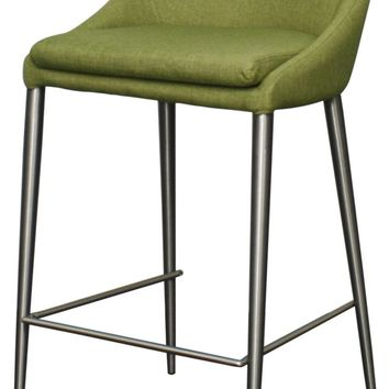 Zane Fabric Counter Stool Brushed Stainless Legs, Limerick Green / Yellow (Set of 2)