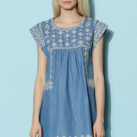 Cross-Stitch Babydoll Denim Dress