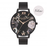 AFTER DARK FLORAL MATTE BLACK, ROSE GOLD & BLACK MESH WATCH
