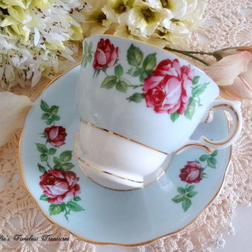 Vintage Colclough English Fine Bone China Blue Floral Tea Cup Saucer Red Roses Gold Trim Replacement China Antique Tea Cup Vintage Tea Cup