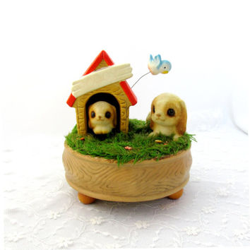 Moving Dog Music Box With Two Dogs And Dog House Signed Josef Originals 1960's Vintage Collectible Gift Item 2215