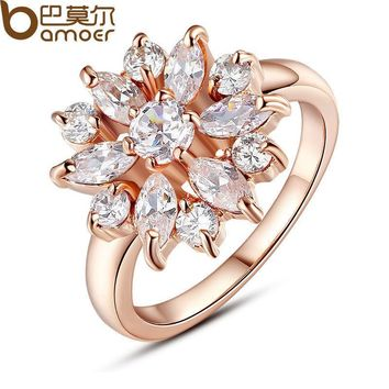 BAMOER  Rose Gold Color Finger Ring for Women with AAA Cubic Zircon Engagement Jewelry #6 7 8 9 JIR029
