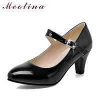 Meotina Fashion Shoes Women Pumps Spring Pointed Toe Mary Jane Chunky Medium Heels Plain Red Gold Ladies Shoes Black Size 34-39