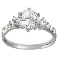 Alexandria Collection Sterling Silver Round Bridal Engagement CZ Ring