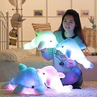 "18"" Supper Cute Sea Animal Little Stuffed Toys, Sparkling Dolphin Plush Toy with Mix Color Changing LED Light (Pink, 45cm)"