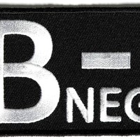 "Embroidered Iron On Patch - B Negative Blood Type 3"" Patch"