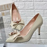 GUCCI Bee Women Fashion Pointed Toe High Heels Shoes  7.5CM